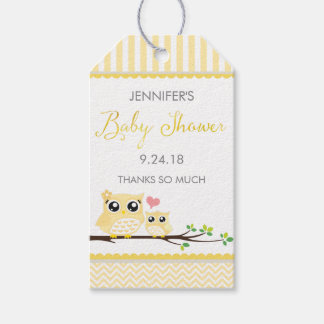 Owl Baby Shower Favor Tag Yellow Chevron Hang Tag