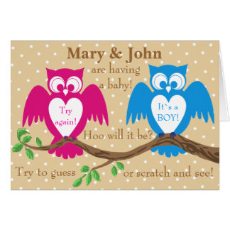 Owl baby shower gender reveal card