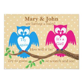 Owl baby shower gender reveal 5.5x7.5 paper invitation card