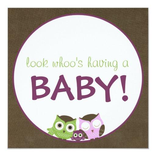 Owl Baby Shower | Girl >> brown, green & purple Card