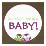 Owl Baby Shower | Girl >> brown, green & purple Invitation