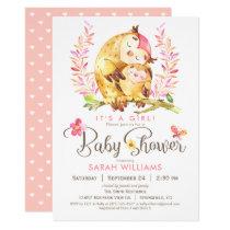 Owl Baby Shower, Girl Card