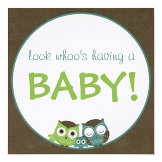 Owl Baby Shower | Green/Blue/Brown Boy Card
