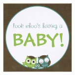 Owl Baby Shower | Green/Blue/Brown Boy Announcement