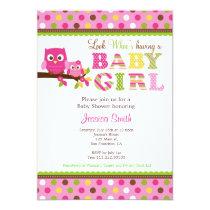 "Owl Baby Shower Invitation 5"" X 7"" Invitation Card"