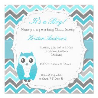 Owl Baby Shower Invitation Blue Chevron Announcements