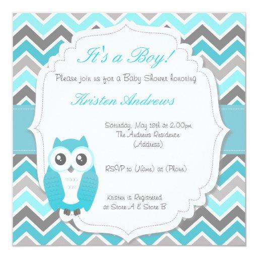 owl baby shower invitation blue chevron zazzle