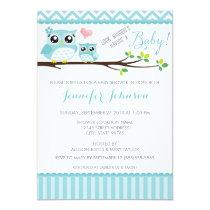 Owl Baby Shower Invitation   Blue Chevron   Boy