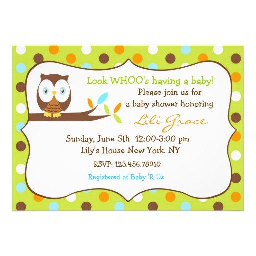 Owl Baby Shower Invitation - Boy