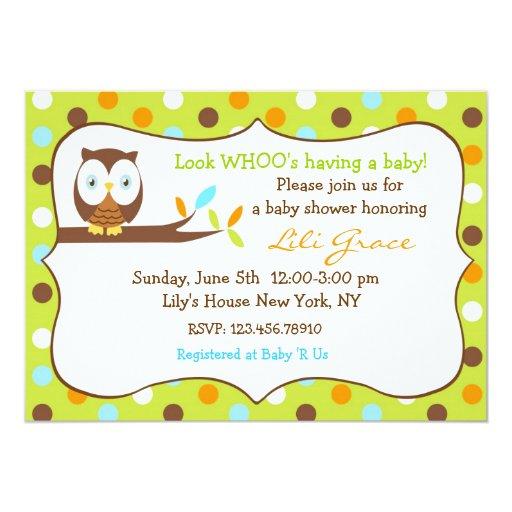 "Owl Baby Shower Invitation - Boy 5"" X 7"" Invitation Card"