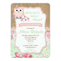 Owl baby shower invitations owl baby shower invitation burlap lace mint pink filmwisefo