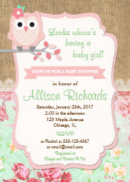 Owl baby shower invitations announcements zazzle owl baby shower invitation burlap lace mint pink filmwisefo Choice Image