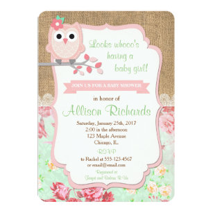 Owl baby shower invitations zazzle owl baby shower invitation burlap lace mint pink filmwisefo
