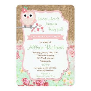 Owl Baby Shower Invitation Burlap Lace Mint Pink