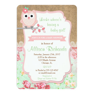 Owl Baby Shower Invitation Burlap Lace Mint Pink