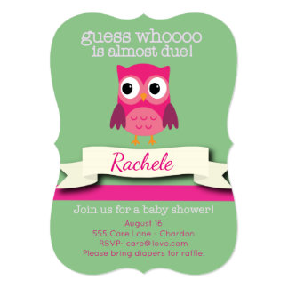 Owl Baby Shower Invitation Card Pink and Green
