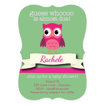 muddymomdesigns Owl Baby Shower Invitation Card Pink and Green