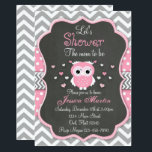 """Owl Baby Shower Invitation, Chevron, Chalkboard Card<br><div class=""""desc"""">Expecting a new baby girl? This cute owl invitation is a perfect theme.</div>"""