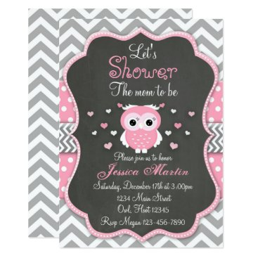 Toddler & Baby themed Owl Baby Shower Invitation, Chevron, Chalkboard Card