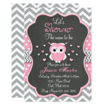 Owl Baby Shower Invitation, Chevron, Chalkboard Invitation