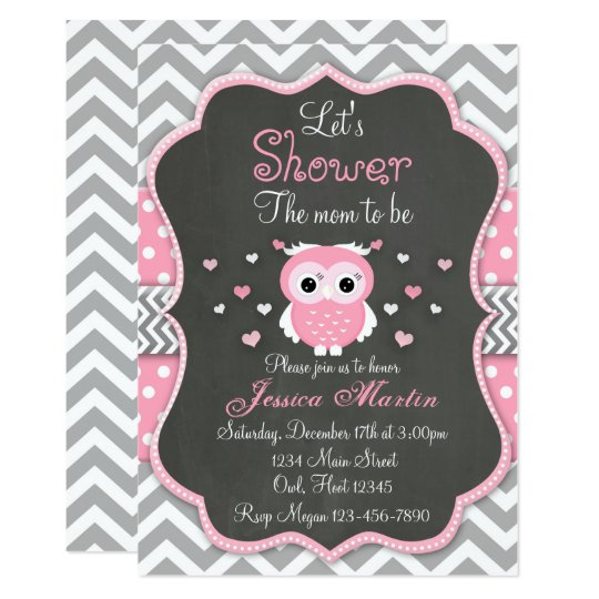 Owl Baby Shower Invitation Chevron Chalkboard