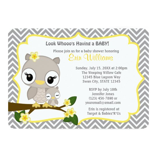 owl baby shower invitation chevron gray yellow   zazzle, Baby shower invitation