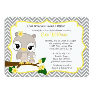 "Owl Baby Shower invitation Chevron Gray Yellow 160 5"" X 7"" Invitation Card"