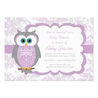 Owl Baby Shower Invitation for Girls Purple - 730