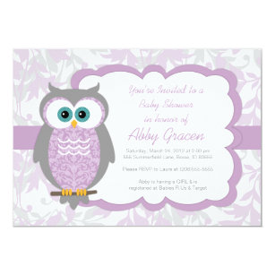 Owl baby shower invitations announcements zazzle owl baby shower invitation for girls purple 730 filmwisefo
