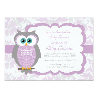 Owl Baby Shower Invitation for Girls, Purple - 730