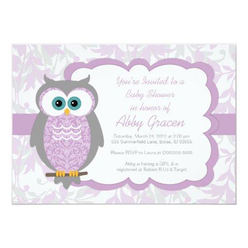 owl baby shower invitation for girls purple 730