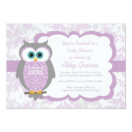 Owl Baby Shower Invitation for Girls, Purple - 730