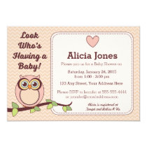 Owl Baby Shower Invitation (Girl)