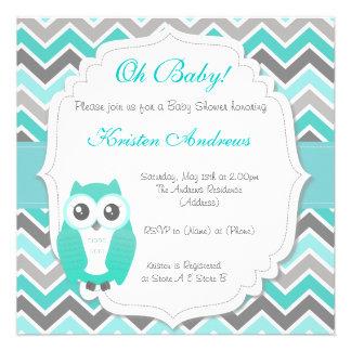 Owl Baby Shower Invitation Green Chevron Invite