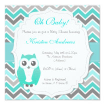 Owl Baby Shower Invitation Green Chevron
