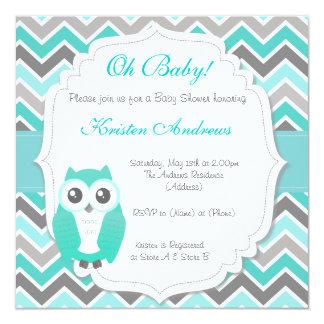 """Owl Baby Shower Invitation Green Chevron 5.25"""" Square Invitation Card"""