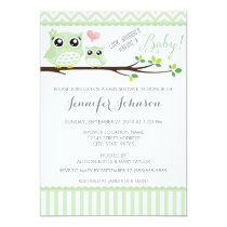 Owl Baby Shower Invitation | Green Chevron
