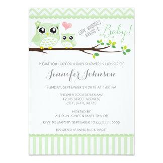 Owl Baby Shower Invitation | Green Chevron