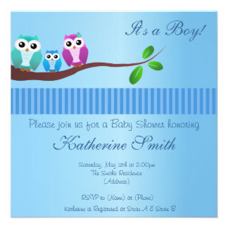 Owl Baby Shower Invitation in blue