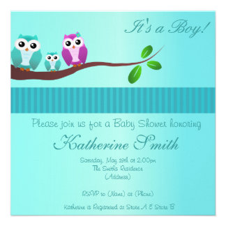 Owl Baby Shower Invitation in Green