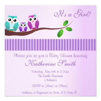 Owl Baby Shower Invitation in lilac