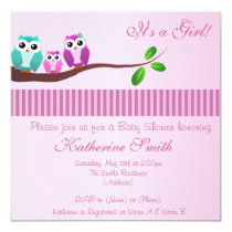 Owl Baby Shower Invitation in Pink