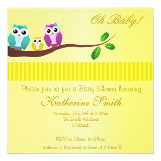 Owl Baby Shower Invitation in Yellow