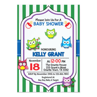 Owl Baby Shower Invitation Invite