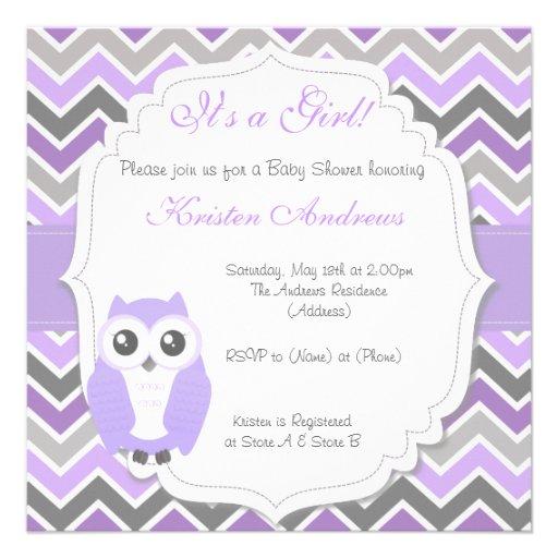 owl baby shower invitation lilac chevron square invitation card