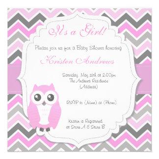 Owl Baby Shower Invitation Pink Chevron Custom Invitation