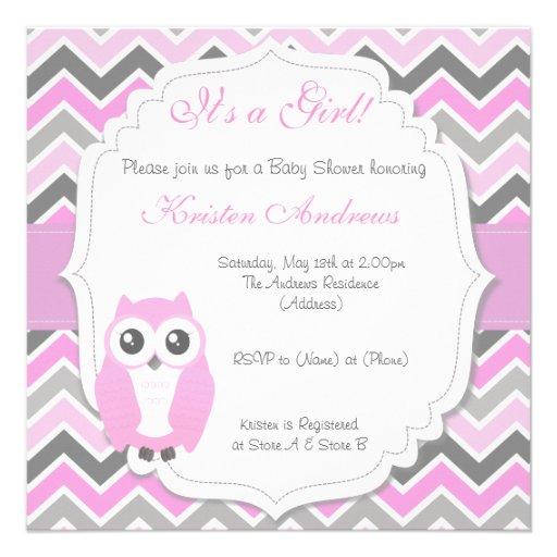 Owl Baby Shower Invitation Pink Chevron