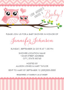 Owl baby shower invitations zazzle owl baby shower invitation pink chevron girl filmwisefo