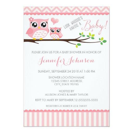 Owl Baby Shower Invitation Pink Chevron Girl