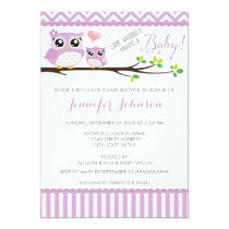 Owl Baby Shower Invitation | Purple Chevron | Girl